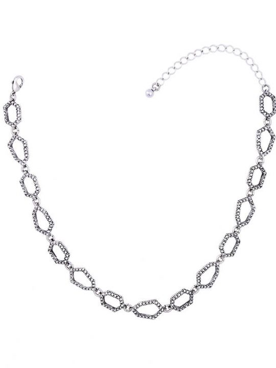 Aspect Stone Silver Collar Statement Necklace 3