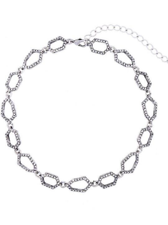 Aspect Stone Silver Collar Statement Necklace 4