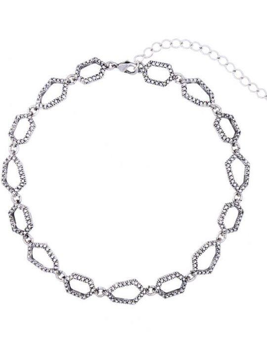Aspect Stone Silver Collar Statement Necklace 4