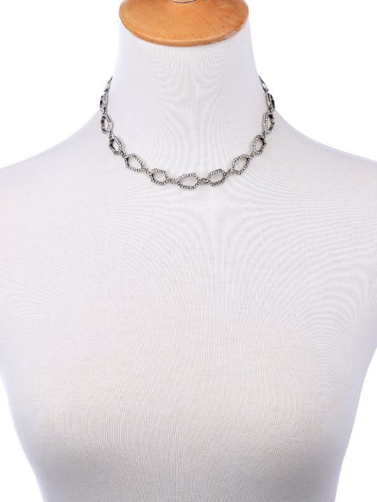 Aspect Stone Silver Collar Statement Necklace 5