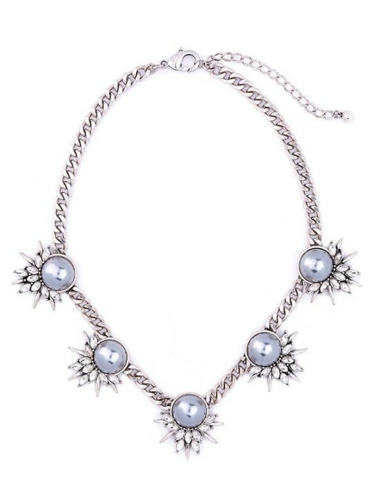 Grey Pearl Crystal Curb Chain Statement Necklace 1