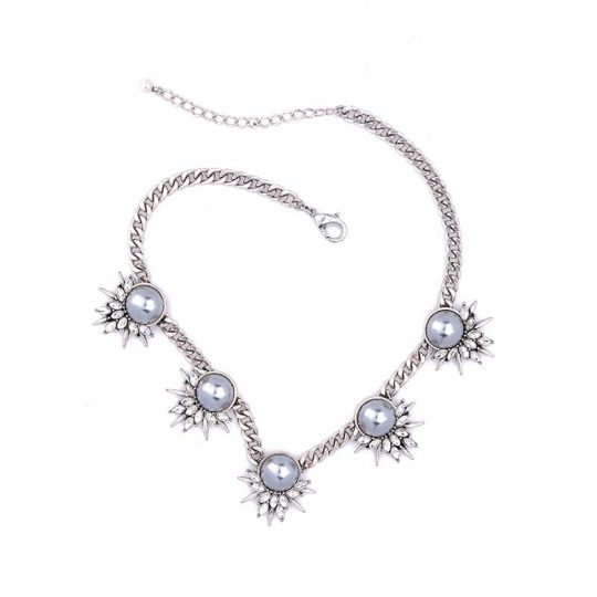 Grey Pearl Crystal Curb Chain Statement Necklace 2