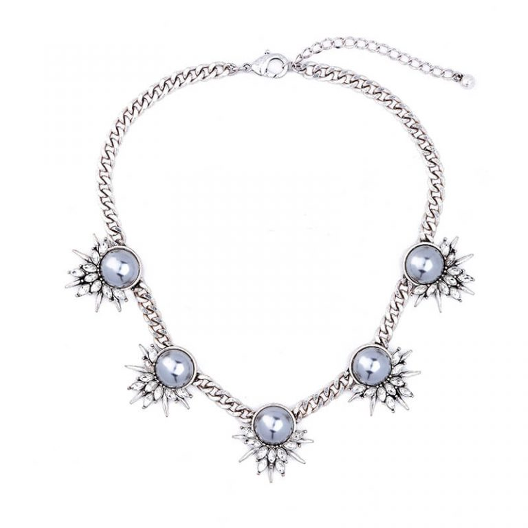 Grey Pearl Crystal Curb Chain Statement Necklace 5