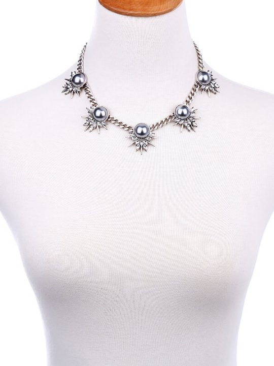Grey Pearl Crystal Curb Chain Statement Necklace 7