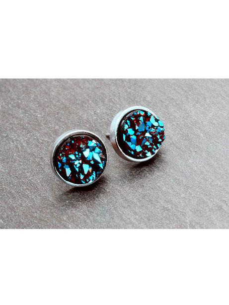 Moon Druzy Stud Earrings