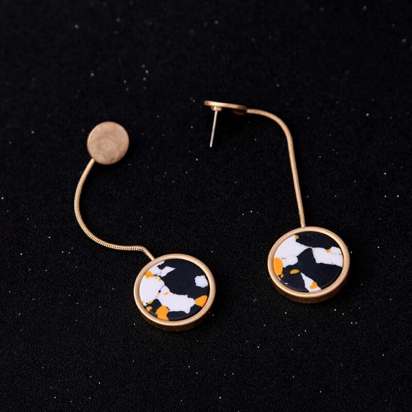 Multicolor Round Resin Hanging Statement Earrings