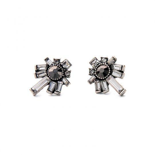 Nightscape Black Stone Crystal Drop Earrings 2