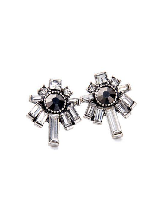 Nightscape Black Stone Crystal Drop Earrings 3
