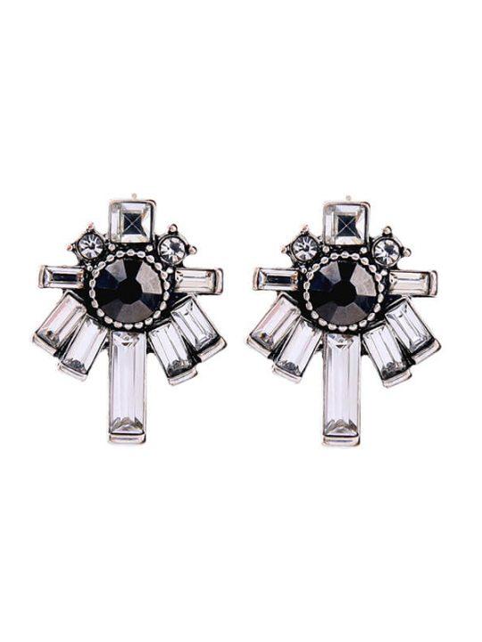 Nightscape Black Stone Crystal Drop Earrings 4