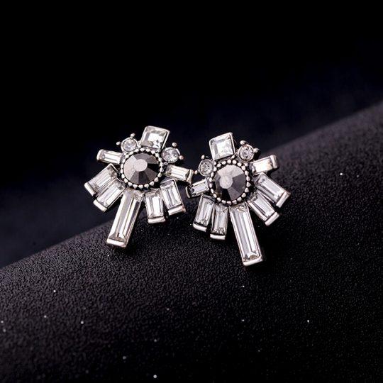 Nightscape Black Stone Crystal Drop Earrings 5