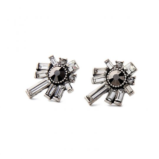 Nightscape Black Stone Crystal Drop Earrings 6