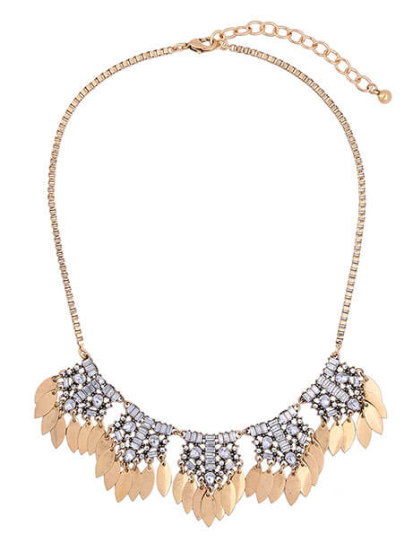 crystal leaf statement necklace