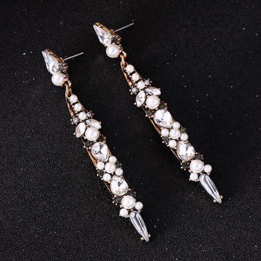 World Pearl Crystal long statement earrings 3
