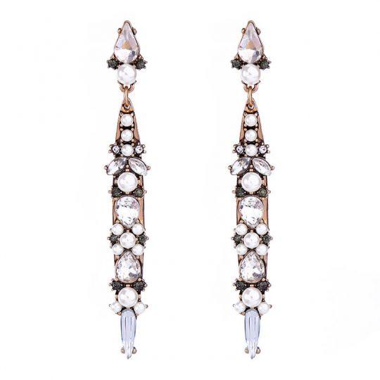 World Pearl Crystal long statement earrings 4