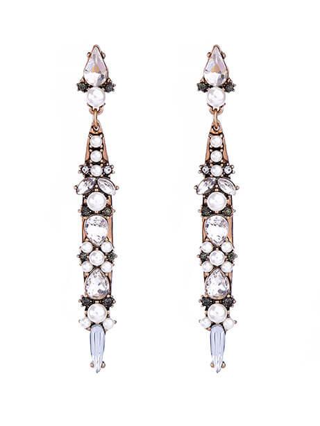 World Pearl Crystal Long Statement Earrings