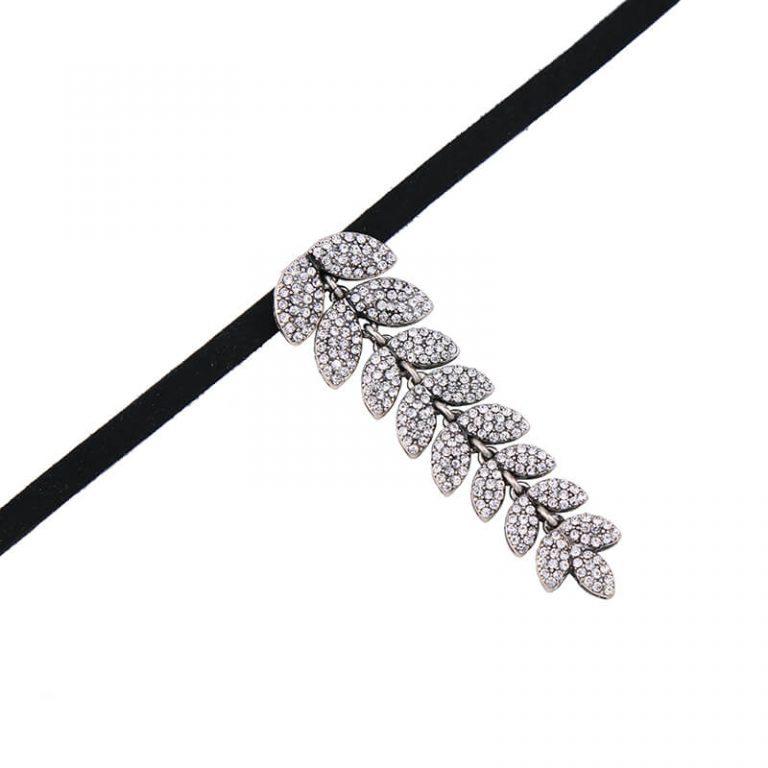 leaf crystal pendant choker necklace 4