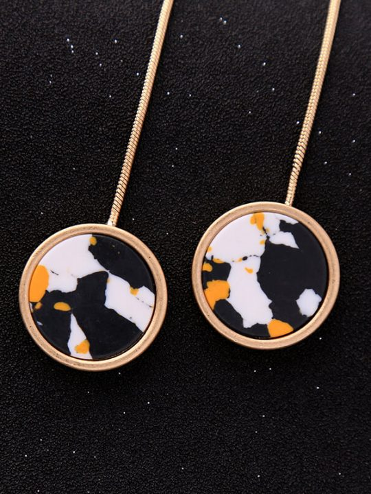 multicolor round resin hanging statement earrings 2