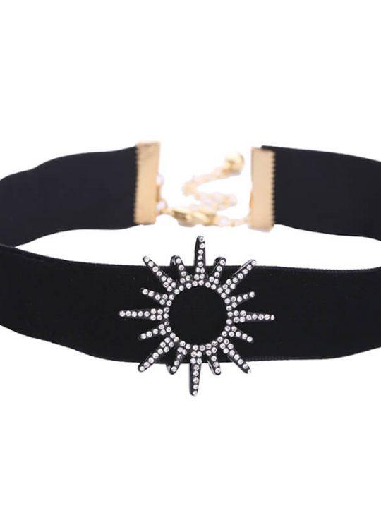 sun black crystal choker necklace 2