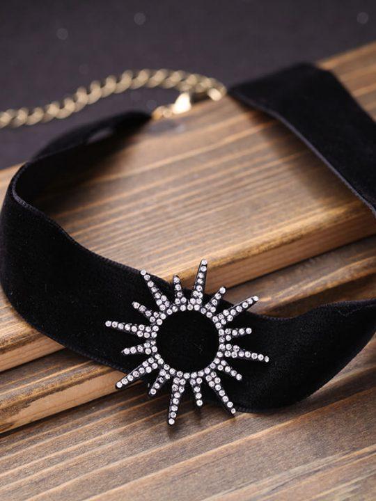 sun black crystal choker necklace 3