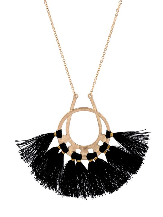Black Tassel Circle Pendant Necklace