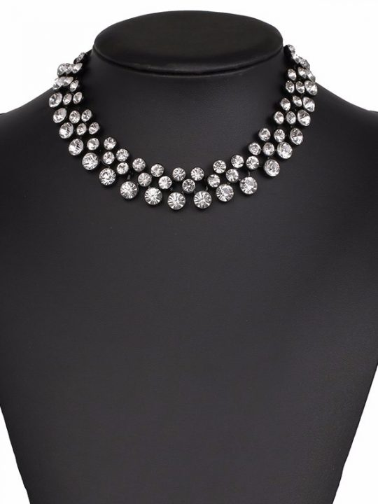 Black Clear Stone Circle Statement Necklace