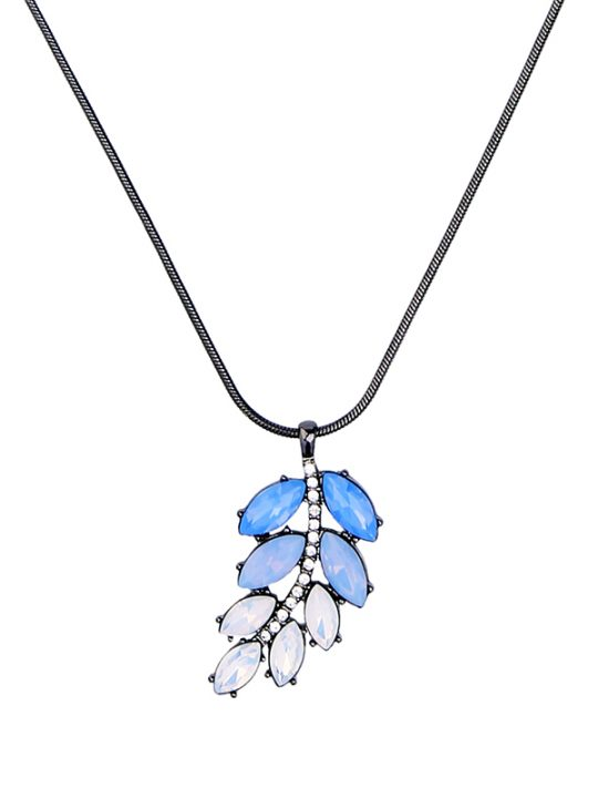 Blue Iridescent Leaf Pendant Necklace