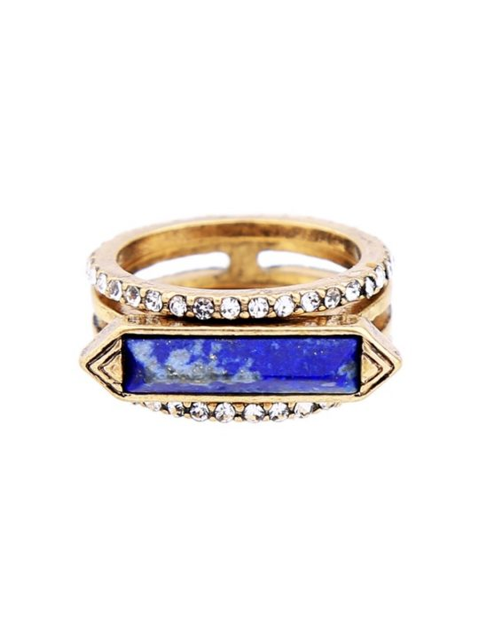 Blue Lapis 3 Piece Ring Set