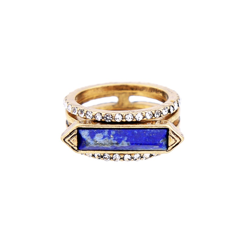 Blue Lapis 3 Piece Ring Set