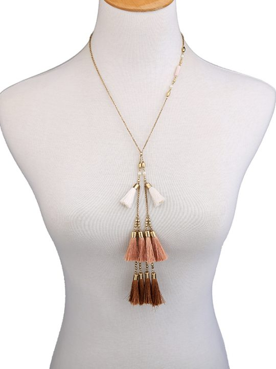 Bohemian Taupe Tassel Necklace