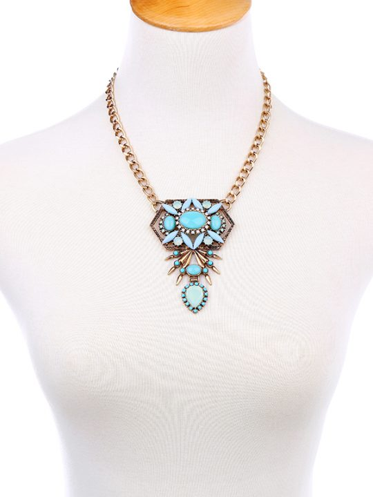 Cortez Light Blue Stone Statement Necklace