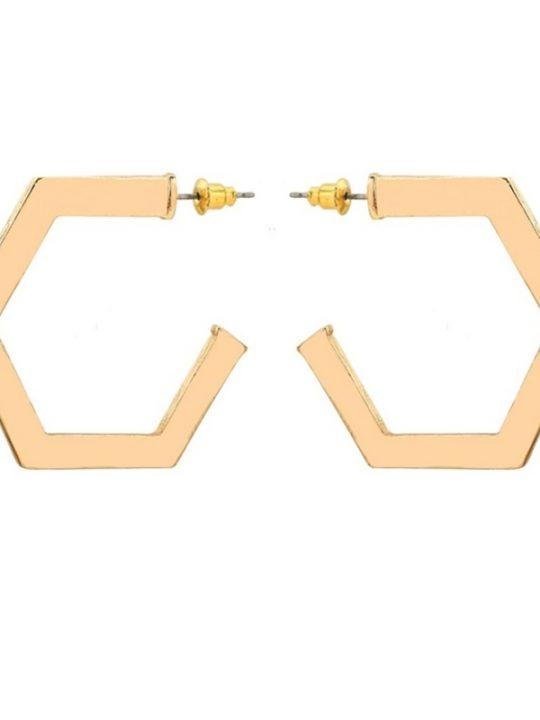Gold Octagonal Hoop Earrings
