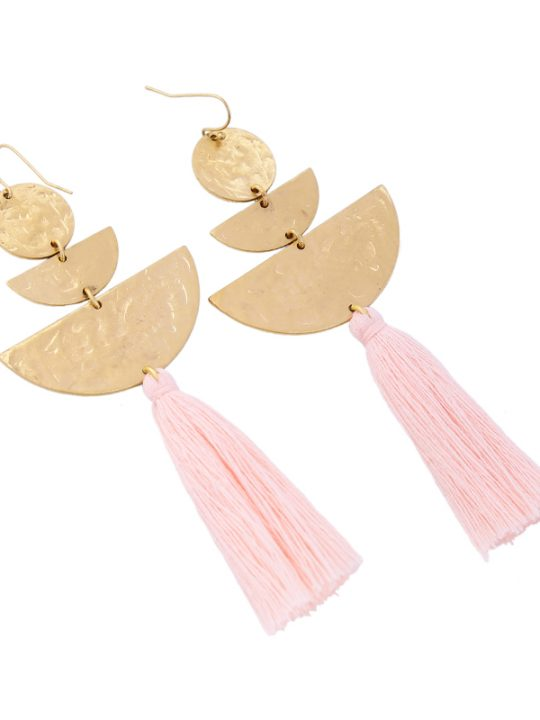 Hammered Gold Tassel Earrings