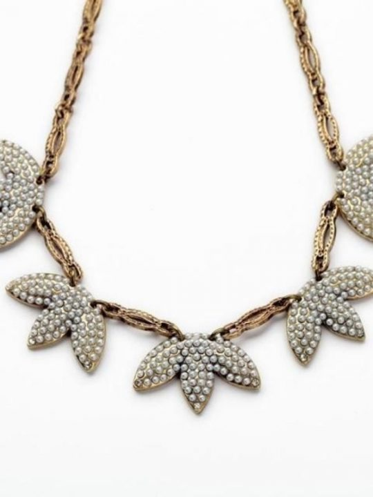 Mini Pearl Leaf Statement Necklace