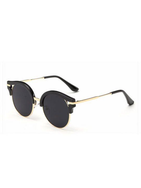 Navigator Round Black Sunglasses
