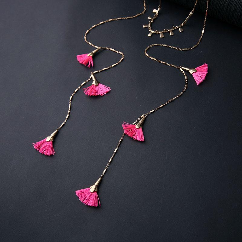 Pink Tassel Layer Necklace