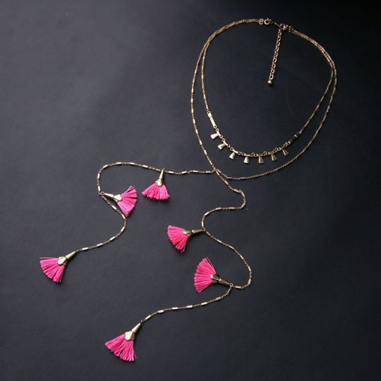 Pink-Tassel-Layer-Necklace-7