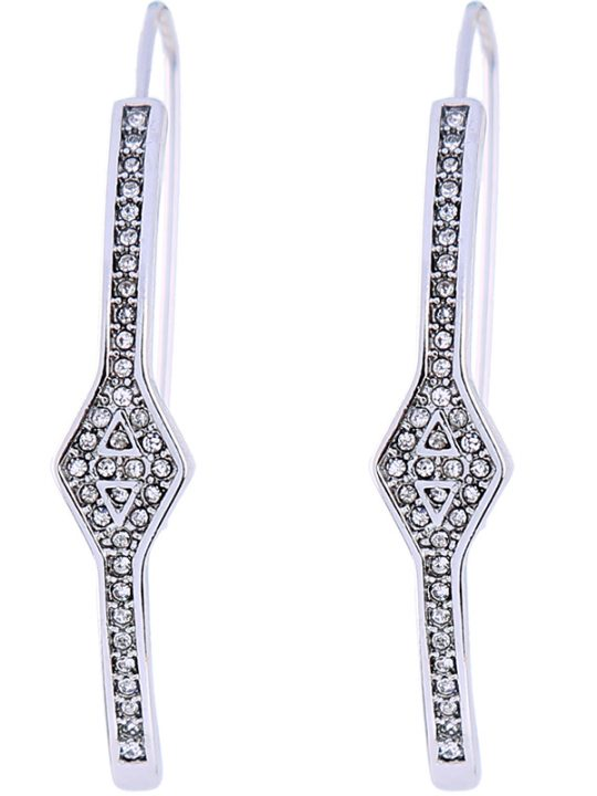 Silver Crystal Pave Curved Earrings
