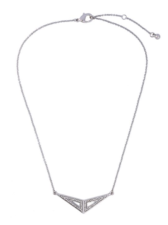 Silver Pave Open Pendant Necklace