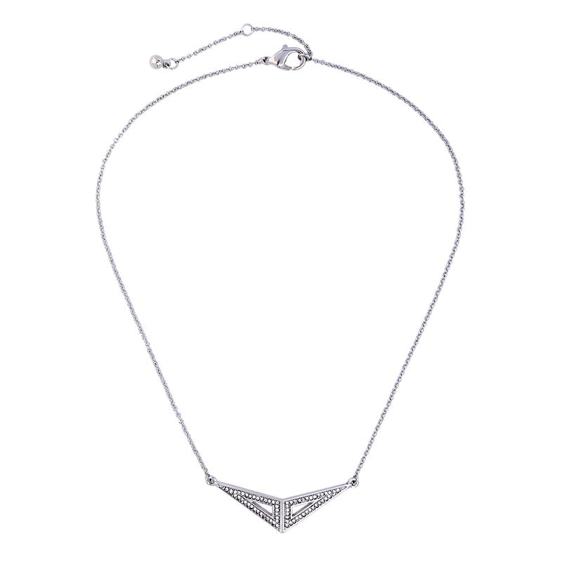 Silver Pave Open Pendant Necklace