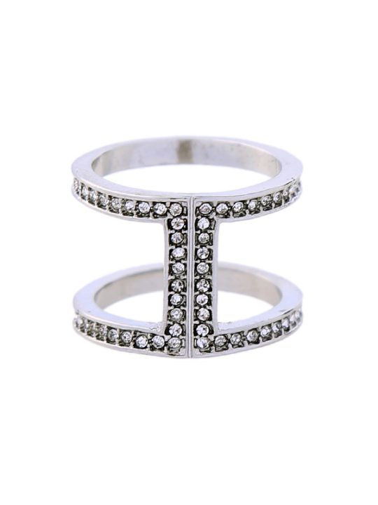 Silver Pave Open Ring