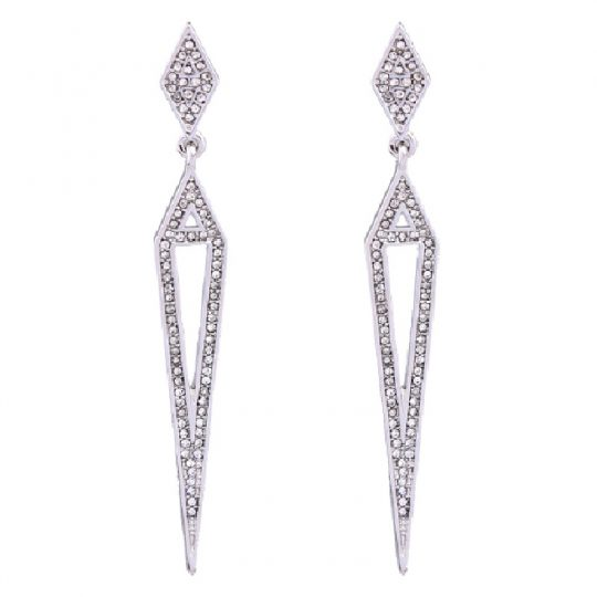 Silver Pave Open Statement Earrings 1