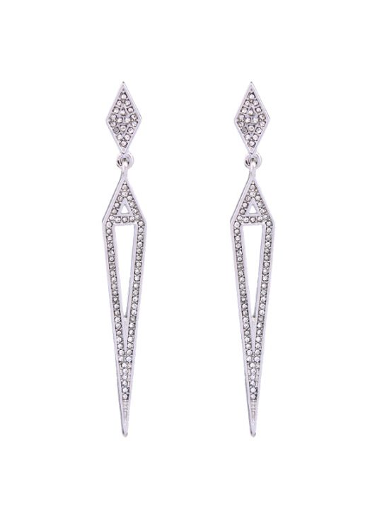 Silver Pave Open Statement Earrings