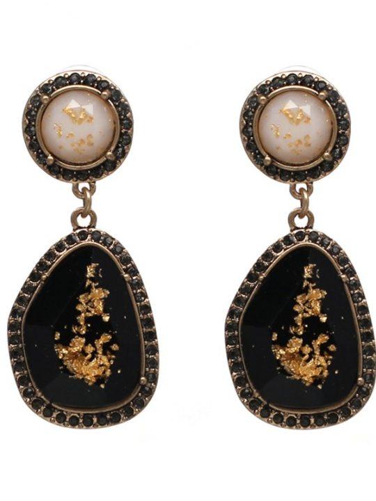 Speck Gold Black Statement Earrings