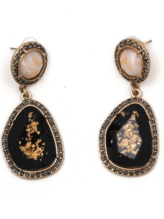 Speck Gold Black Statement Earrings