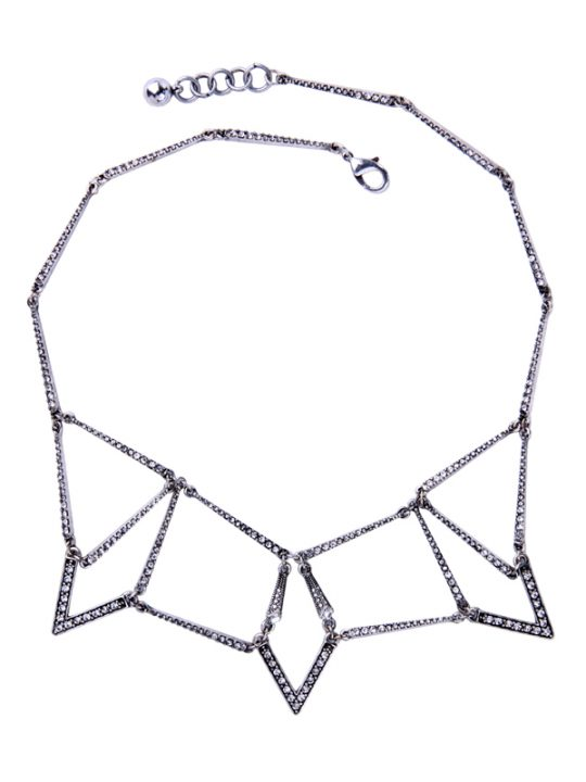 Treo Silver Crystal Statement Necklace