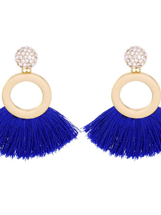 Tropical Blue Tassel Earrings