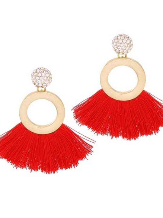 Tropical Red Tassel Earrings