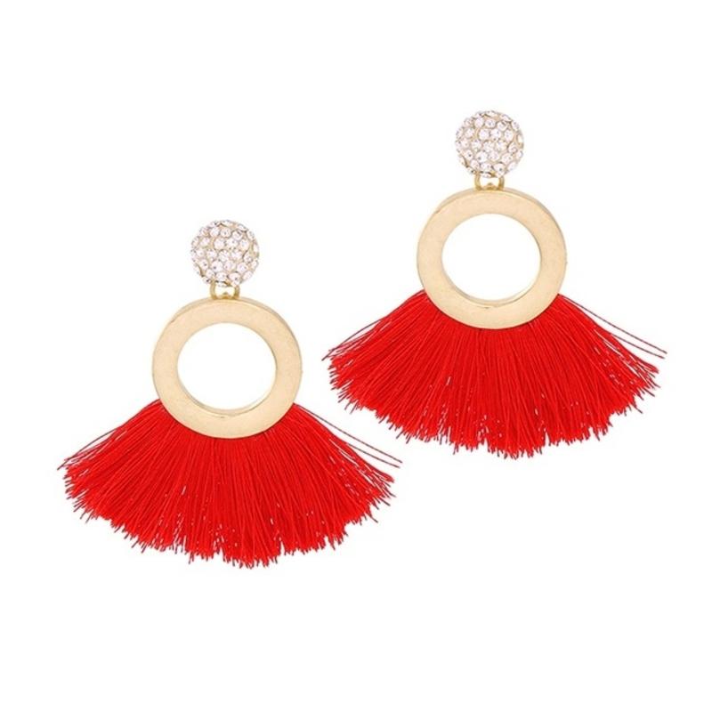 Tropical Red Tassel Earrings