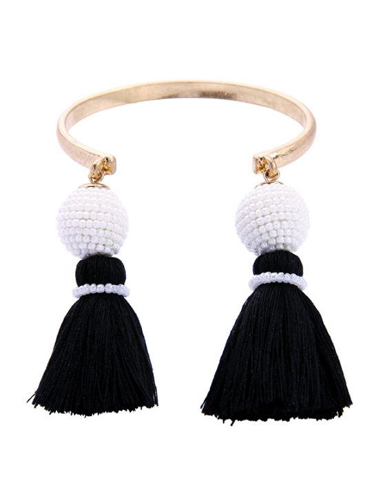 Tropico Black White Tassel Bracelet