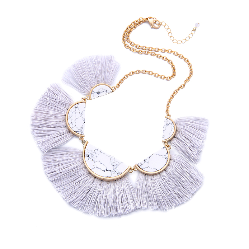 White Marble Tassel Statement Necklace